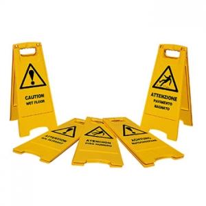 cartello avviso pavimento bagnato